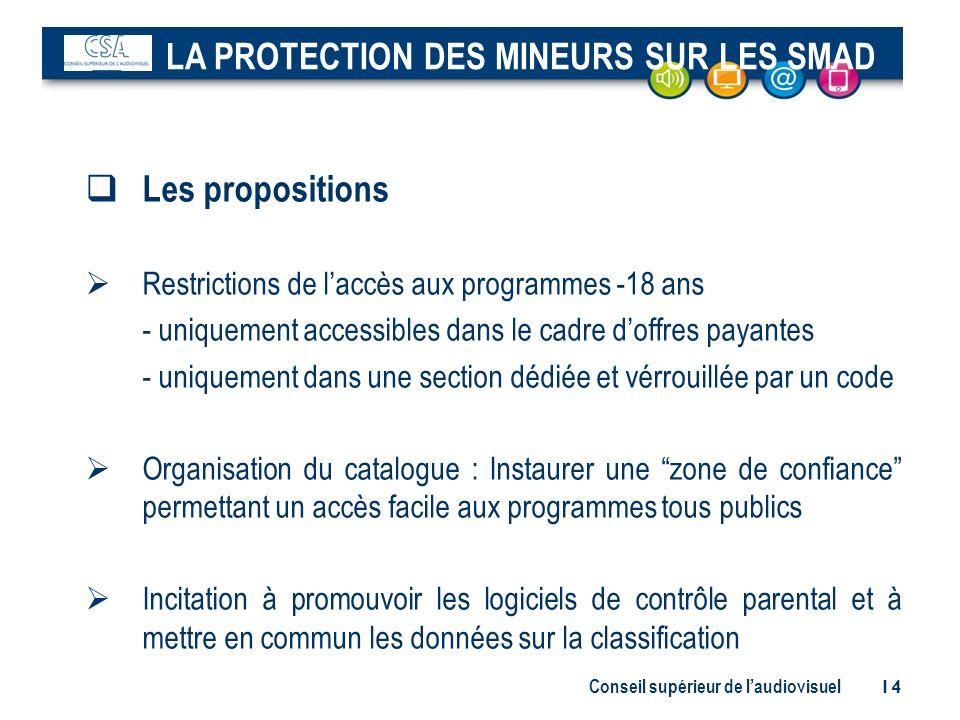 Conseil supérieur de laudiovisuel 14 Les propositions Restrictions de laccès aux programmes -18 ans - uniquement accessibles dans le cadre doffres pay