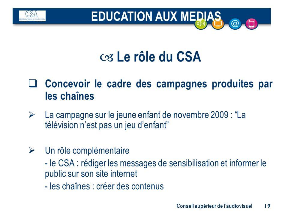 Conseil supérieur de laudiovisuel 19 – Le rôle du CSA Concevoir le cadre des campagnes produites par les chaînes La campagne sur le jeune enfant de no