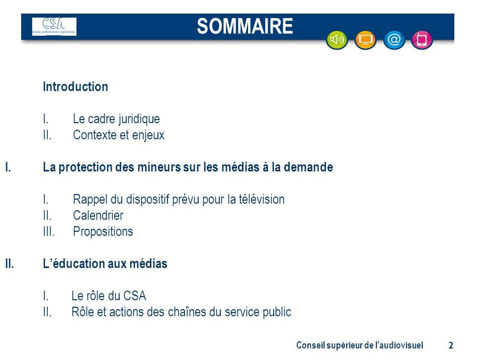 Conseil supérieur de laudiovisuel 2 Introduction I. Le cadre juridique II. Contexte et enjeux I.La protection des mineurs sur les médias à la demande