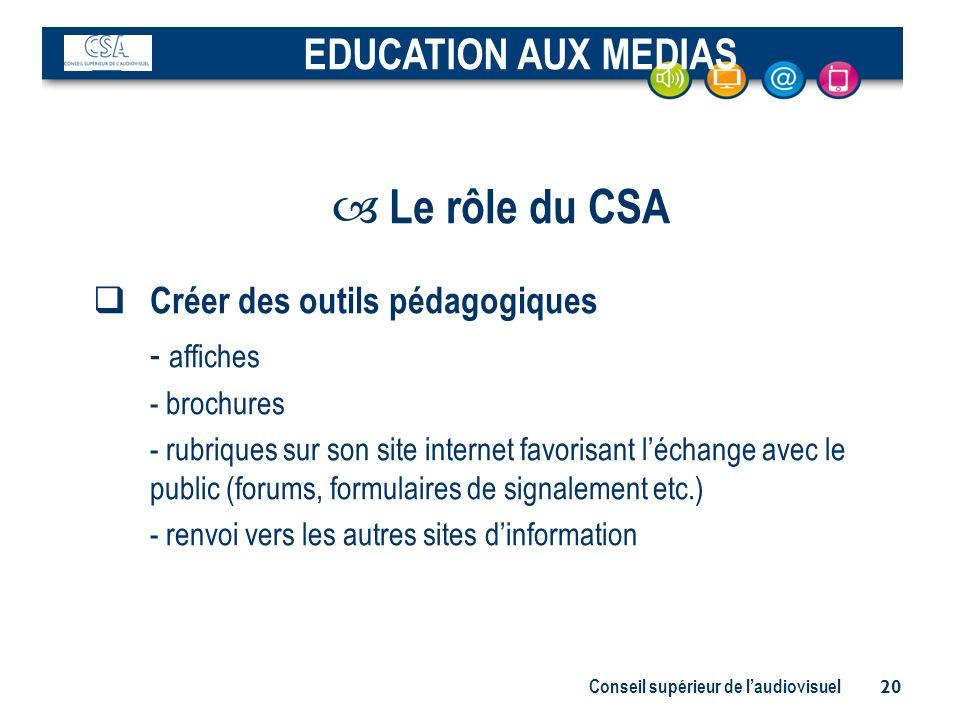 Conseil supérieur de laudiovisuel 20 – Le rôle du CSA Créer des outils pédagogiques - affiches - brochures - rubriques sur son site internet favorisan