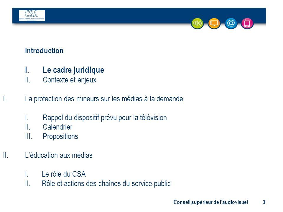 Conseil supérieur de laudiovisuel 3 Introduction I. Le cadre juridique II. Contexte et enjeux I.La protection des mineurs sur les médias à la demande
