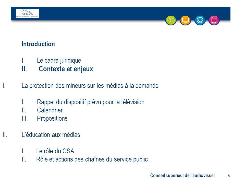 Conseil supérieur de laudiovisuel 5 Introduction I. Le cadre juridique II. Contexte et enjeux I.La protection des mineurs sur les médias à la demande