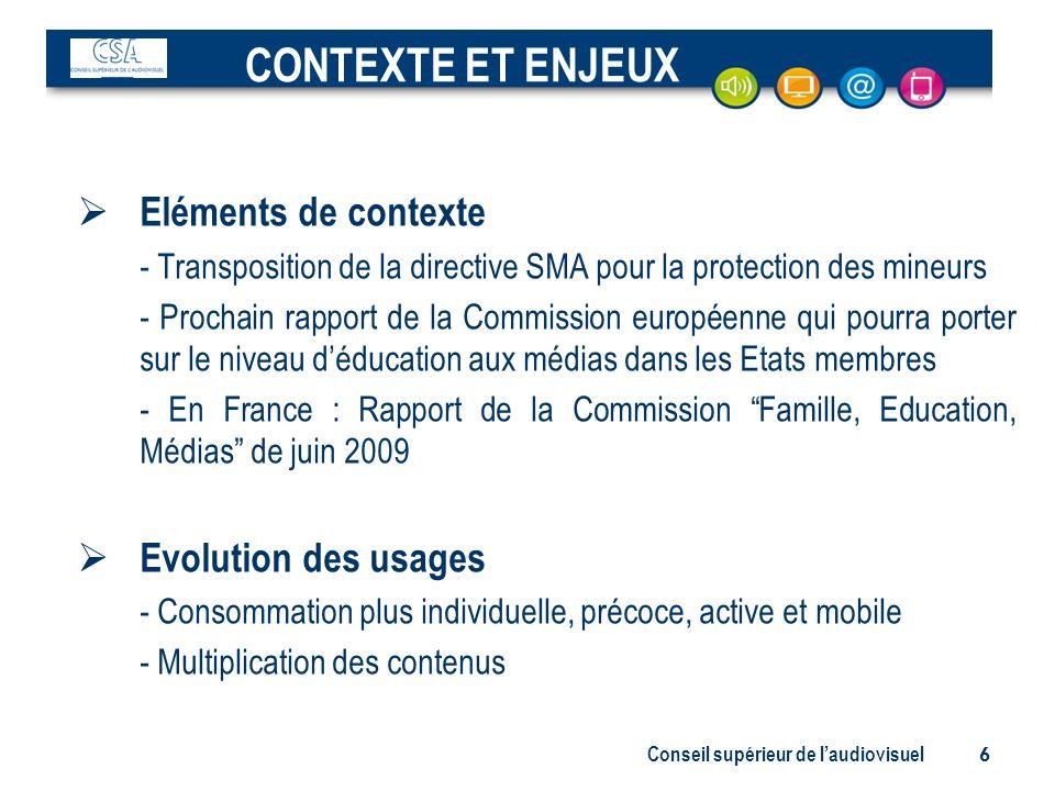 Conseil supérieur de laudiovisuel 6 Eléments de contexte - Transposition de la directive SMA pour la protection des mineurs - Prochain rapport de la C