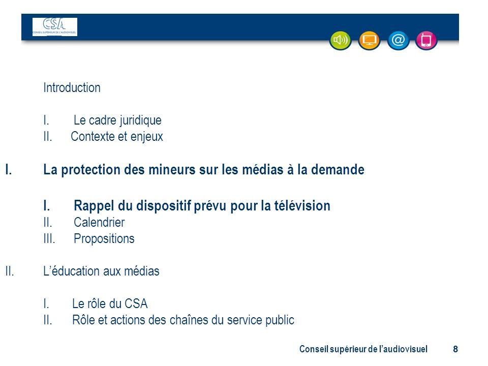 Conseil supérieur de laudiovisuel 8 Introduction I. Le cadre juridique II. Contexte et enjeux I.La protection des mineurs sur les médias à la demande
