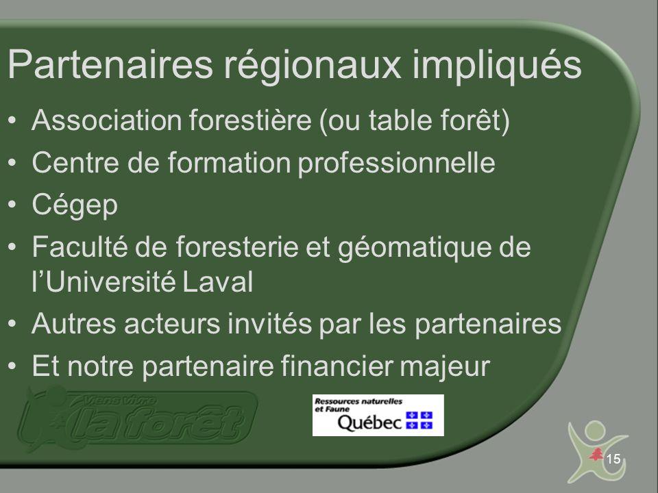 15 Partenaires régionaux impliqués Association forestière (ou table forêt) Centre de formation professionnelle Cégep Faculté de foresterie et géomatique de lUniversité Laval Autres acteurs invités par les partenaires Et notre partenaire financier majeur