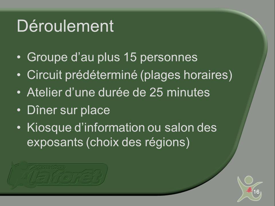 16 Déroulement Groupe dau plus 15 personnes Circuit prédéterminé (plages horaires) Atelier dune durée de 25 minutes Dîner sur place Kiosque dinformation ou salon des exposants (choix des régions)