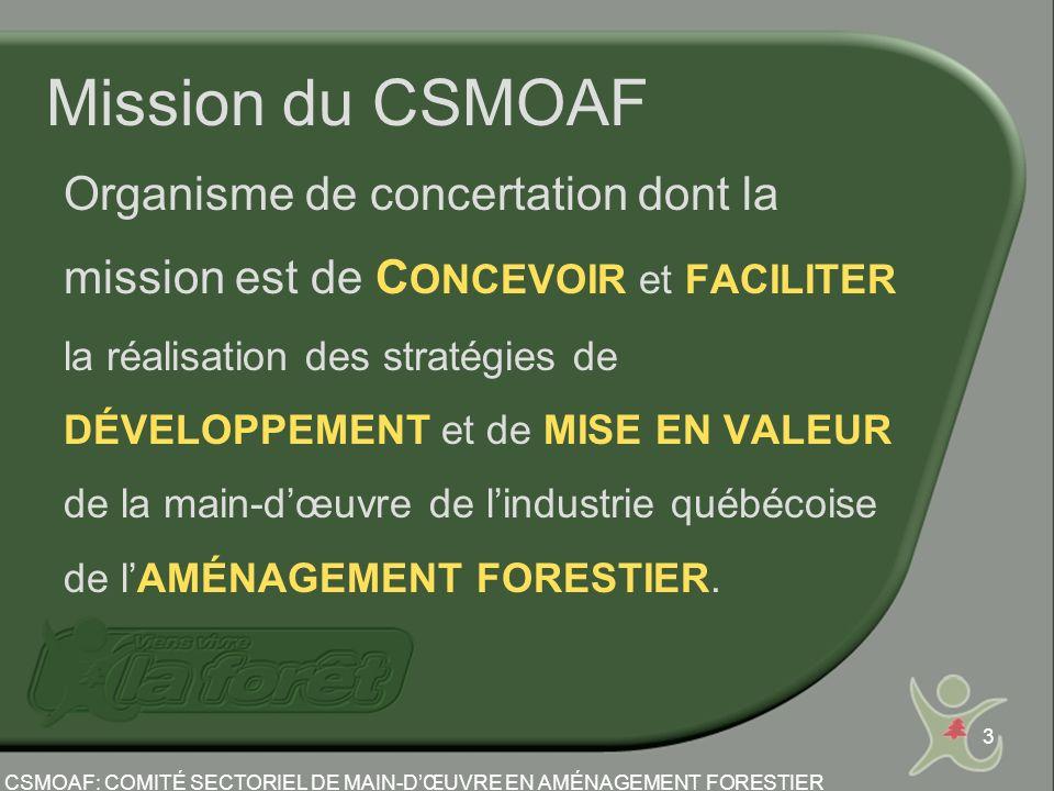 3 Mission du CSMOAF Organisme de concertation dont la mission est de C ONCEVOIR et FACILITER la réalisation des stratégies de DÉVELOPPEMENT et de MISE EN VALEUR de la main-dœuvre de lindustrie québécoise de lAMÉNAGEMENT FORESTIER.