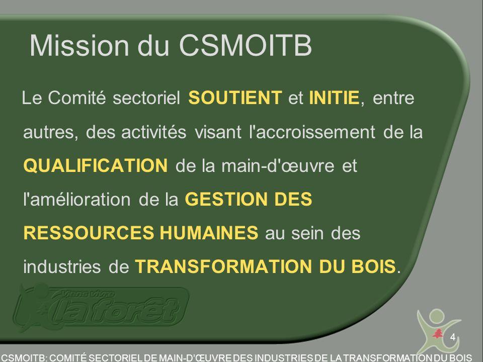 4 Mission du CSMOITB Le Comité sectoriel SOUTIENT et INITIE, entre autres, des activités visant l accroissement de la QUALIFICATION de la main-d œuvre et l amélioration de la GESTION DES RESSOURCES HUMAINES au sein des industries de TRANSFORMATION DU BOIS.