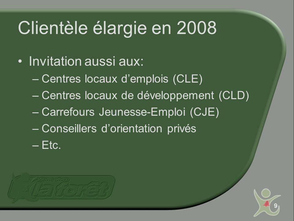 9 Clientèle élargie en 2008 Invitation aussi aux: –Centres locaux demplois (CLE) –Centres locaux de développement (CLD) –Carrefours Jeunesse-Emploi (C
