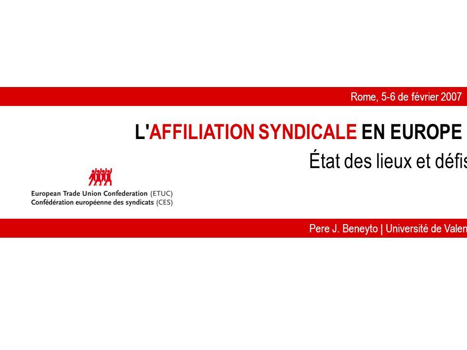 L AFFILIATION SYNDICALE EN EUROPE Rome, 5-6 de février 2007 Pere J.
