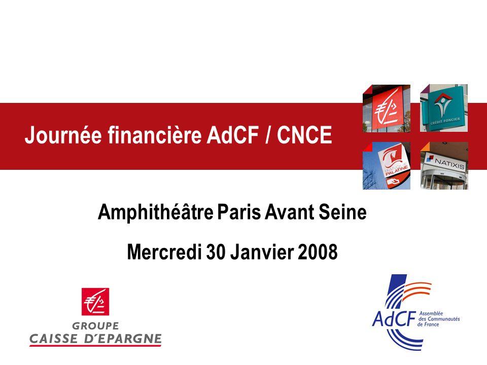 > Journée Finances AdCF / CNCE – 30 Janvier 2008 2 Atelier 1 Actualité financière : les mesures des lois de finances Claire DELPECH, AdCF Yann DOYEN, CNCE