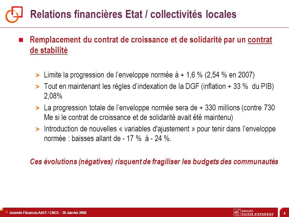 > Journée Finances AdCF / CNCE – 30 Janvier 2008 4 Relations financières Etat / collectivités locales Remplacement du contrat de croissance et de soli