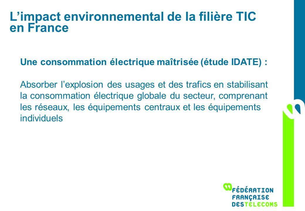 Limpact environnemental de la filière TIC en France Une consommation électrique maîtrisée (étude IDATE) : Absorber lexplosion des usages et des trafic