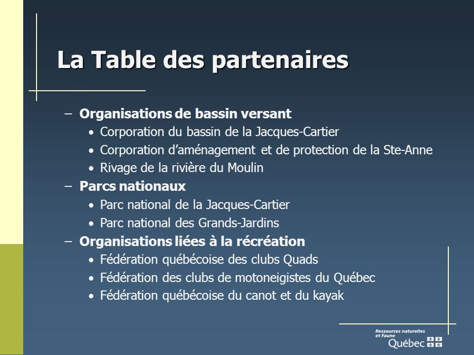 La Table des partenaires –Organisations de bassin versant Corporation du bassin de la Jacques-Cartier Corporation daménagement et de protection de la Ste-Anne Rivage de la rivière du Moulin –Parcs nationaux Parc national de la Jacques-Cartier Parc national des Grands-Jardins –Organisations liées à la récréation Fédération québécoise des clubs Quads Fédération des clubs de motoneigistes du Québec Fédération québécoise du canot et du kayak