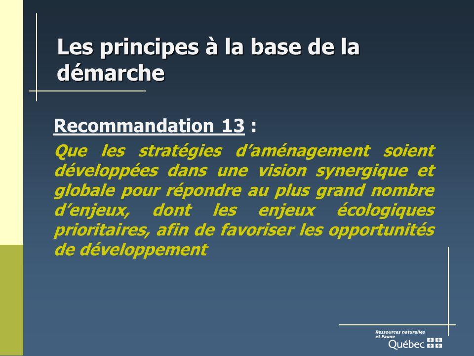 Les principes à la base de la démarche Recommandation 13 : Que les stratégies daménagement soient développées dans une vision synergique et globale pour répondre au plus grand nombre denjeux, dont les enjeux écologiques prioritaires, afin de favoriser les opportunités de développement