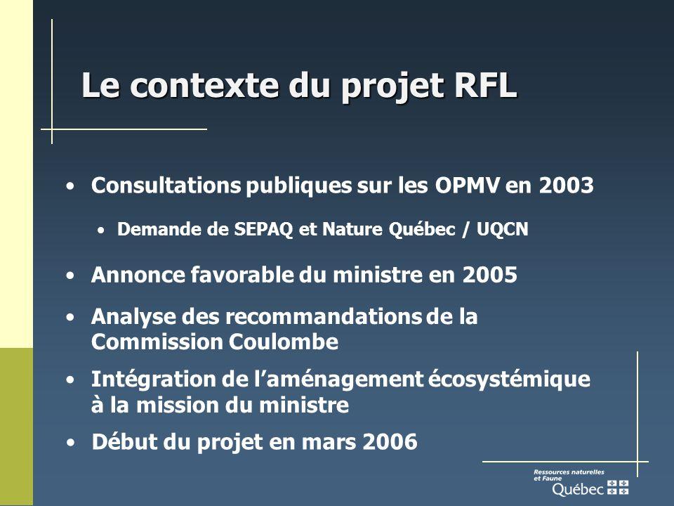 Le contexte du projet RFL Consultations publiques sur les OPMV en 2003 Demande de SEPAQ et Nature Québec / UQCN Annonce favorable du ministre en 2005 Analyse des recommandations de la Commission Coulombe Intégration de laménagement écosystémique à la mission du ministre Début du projet en mars 2006