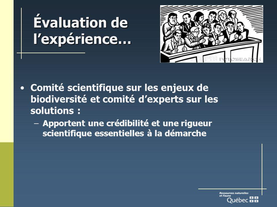 Évaluation de lexpérience… Comité scientifique sur les enjeux de biodiversité et comité dexperts sur les solutions : –Apportent une crédibilité et une rigueur scientifique essentielles à la démarche