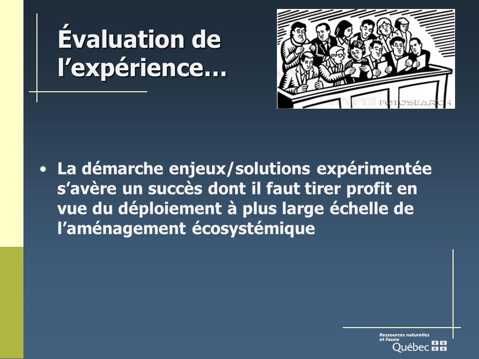 Évaluation de lexpérience… La démarche enjeux/solutions expérimentée savère un succès dont il faut tirer profit en vue du déploiement à plus large échelle de laménagement écosystémique