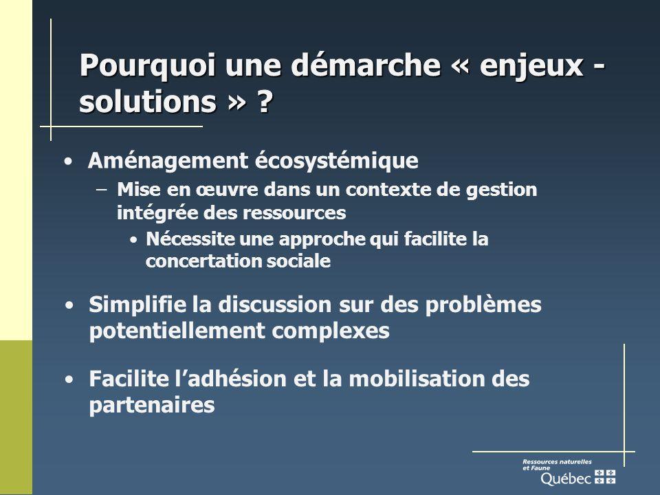 Pourquoi une démarche « enjeux - solutions » .
