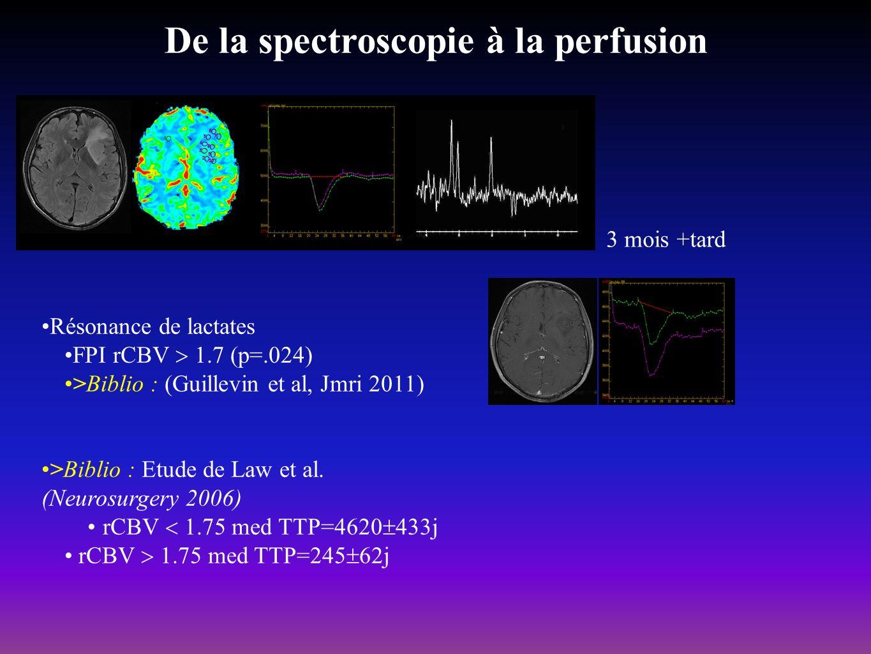 De la spectroscopie à la perfusion Résonance de lactates FPI rCBV 1.7 (p=.024) >Biblio : (Guillevin et al, Jmri 2011) >Biblio : Etude de Law et al. (N