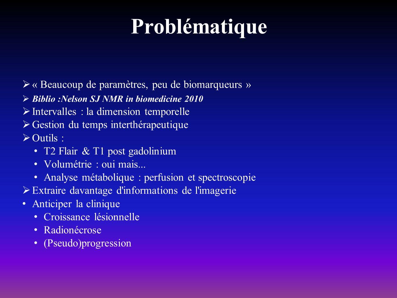 >Biblio : Matsusue et al, Neuroradiology 2010 « Distinction between glioma progression and post-radiation change by combined physiologic MR imaging » Analyse paramétrique combinée : (Cho/Cr + Cho/Naa), rCBV, ADC Seuils : 1.29, 1.06, 2.1, 1.3 Pertinence diagnostique : 84.6%, 86.7%, 86.7% - 93.3% si SRM et PWI combinés Récidive ou radionécrose?