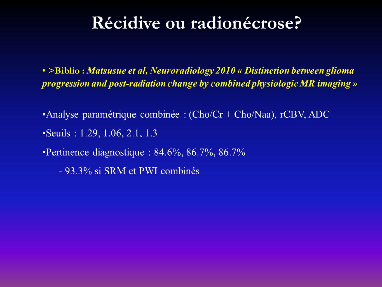 réponse_ récidive _contrôle Cho Cr NAA Cho/NAA=0.48 Cho Cr NAA Cho/NAA=0.61 22%2% Récidive