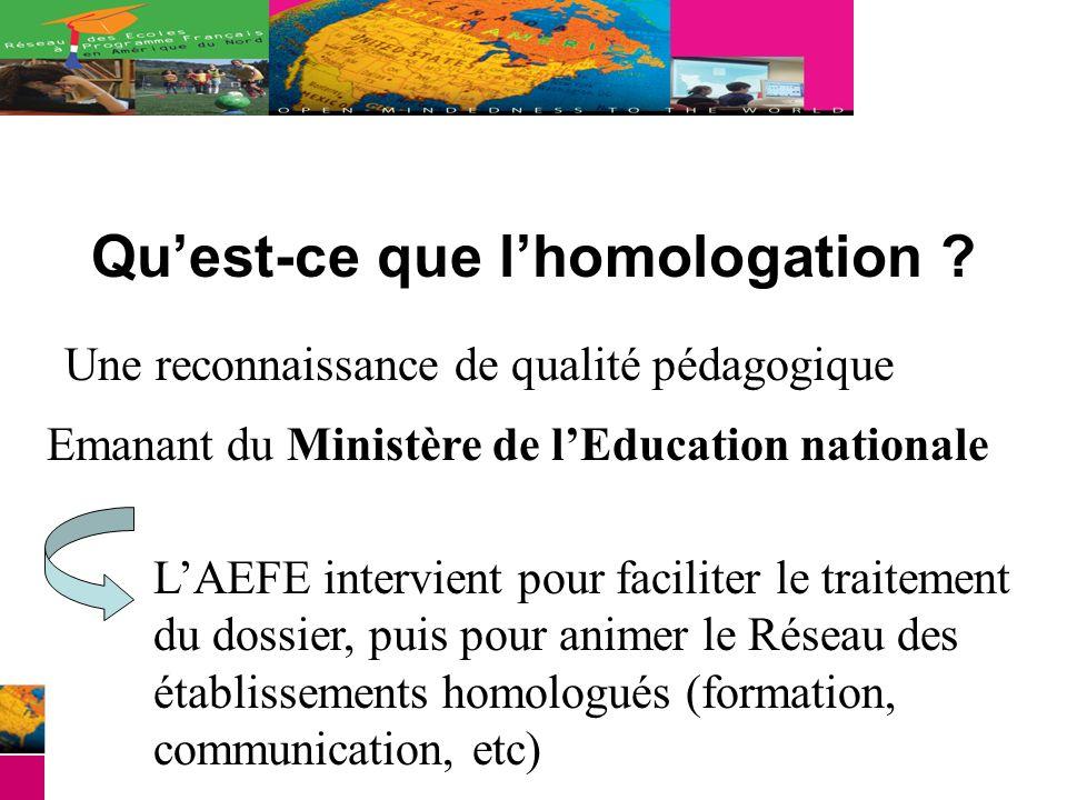 Quest-ce que lhomologation ? Une reconnaissance de qualité pédagogique Emanant du Ministère de lEducation nationale LAEFE intervient pour faciliter le