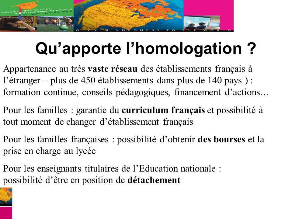 Quapporte lhomologation ? Appartenance au très vaste réseau des établissements français à létranger – plus de 450 établissements dans plus de 140 pays