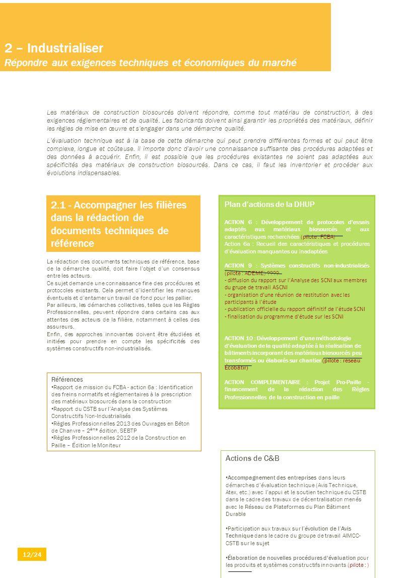 2 – Industrialiser Répondre aux exigences techniques et économiques du marché Les matériaux de construction biosourcés doivent répondre, comme tout ma