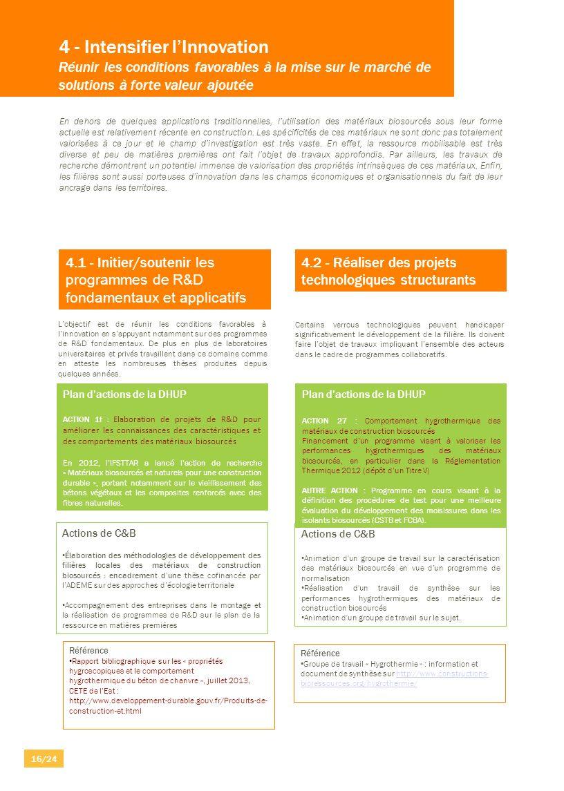 4 - Intensifier lInnovation Réunir les conditions favorables à la mise sur le marché de solutions à forte valeur ajoutée 4.1 - Initier/soutenir les pr