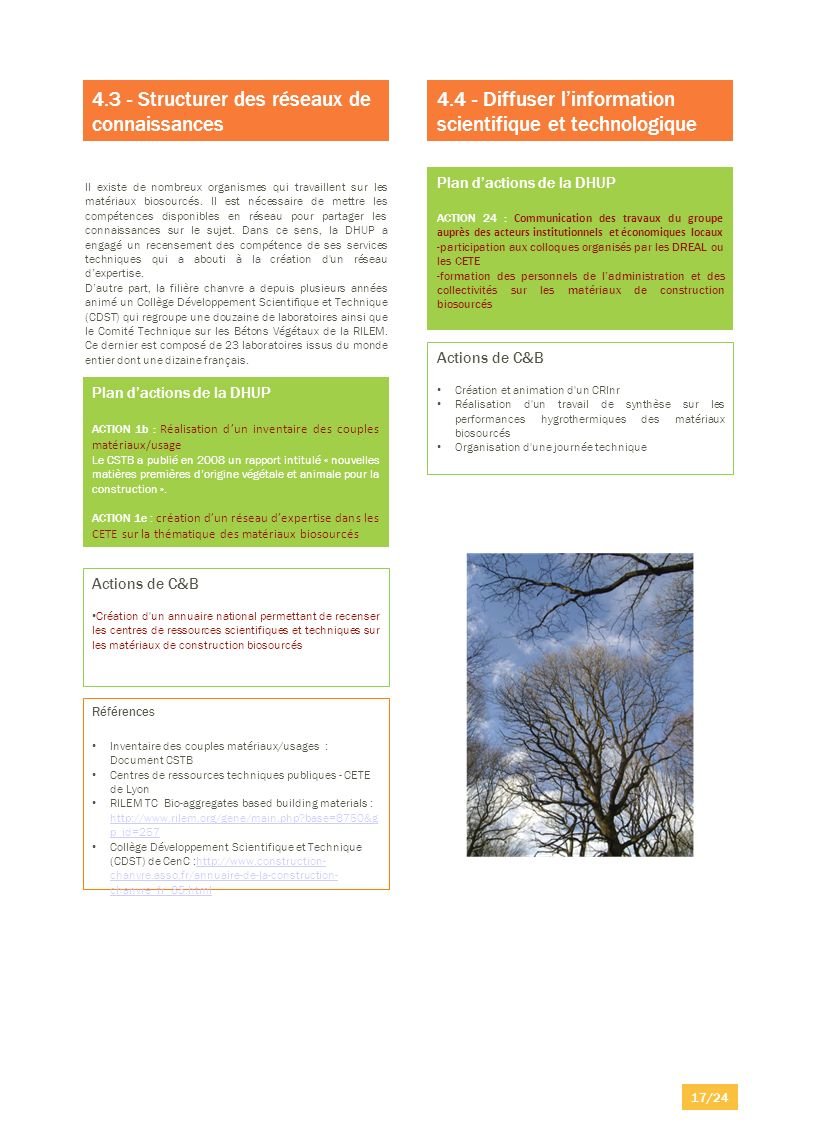 Plan dactions de la DHUP ACTION 1b : Réalisation dun inventaire des couples matériaux/usage Le CSTB a publié en 2008 un rapport intitulé « nouvelles m