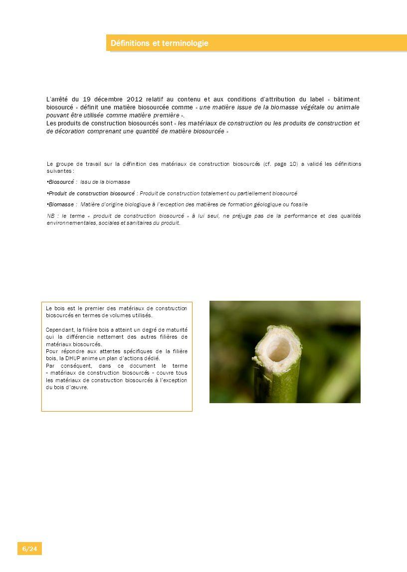 Définitions et terminologie Larrêté du 19 décembre 2012 relatif au contenu et aux conditions dattribution du label « bâtiment biosourcé » définit une