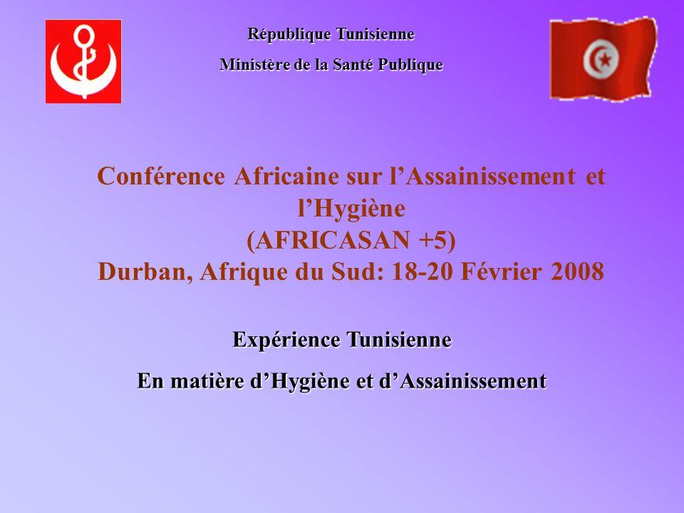 Conférence Africaine sur lAssainissement et lHygiène (AFRICASAN +5) Durban, Afrique du Sud: 18-20 Février 2008 République Tunisienne Ministère de la S