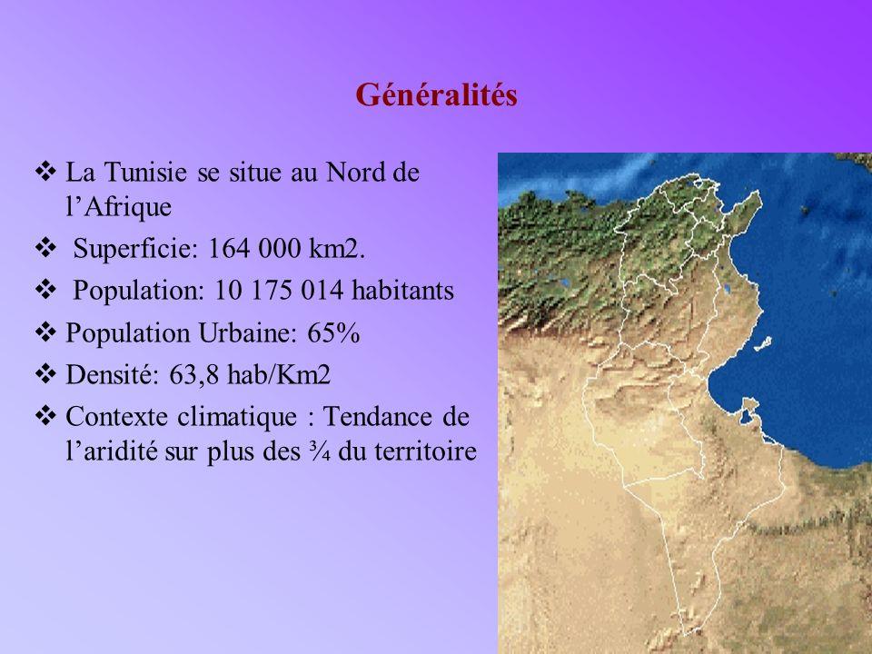 3 Généralités La Tunisie se situe au Nord de lAfrique Superficie: 164 000 km2. Population: 10 175 014 habitants Population Urbaine: 65% Densité: 63,8