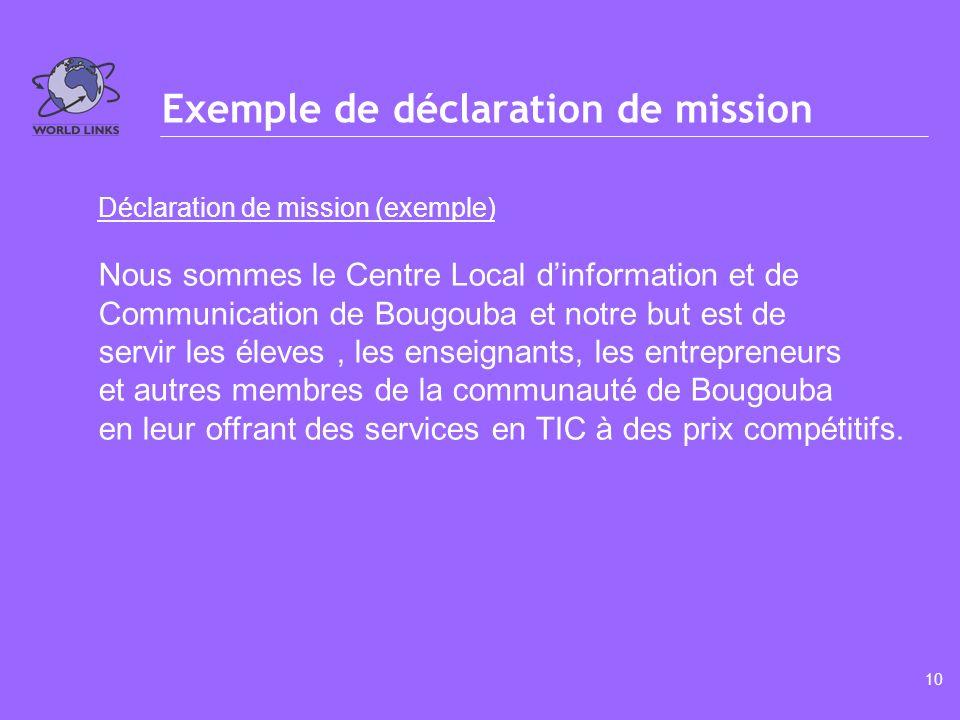 9 Qualités dune déclaration de mission Cest qui vous êtes, qui vous servez et comment vous les servez.