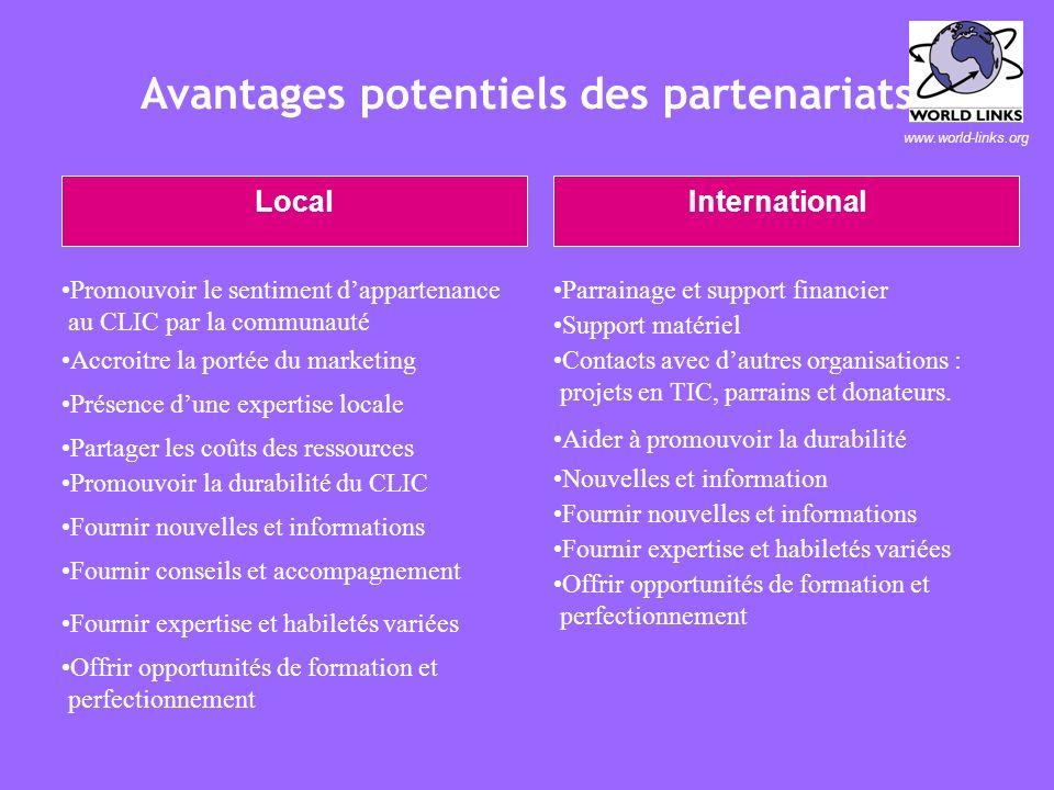 www.world-links.org Questions clés sur les partenariats potentiels (1 de 3) 1) Que pourraient offrir les partenaires potentiels pour aider les CLICs ?