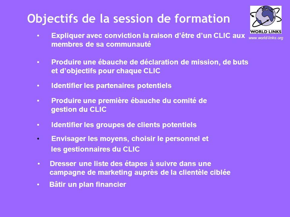 www.world-links.org Objectifs de la session de formation CLIC 1)Explorer le concept dun Centre Local dInformation et de Communication (CLIC) en relati