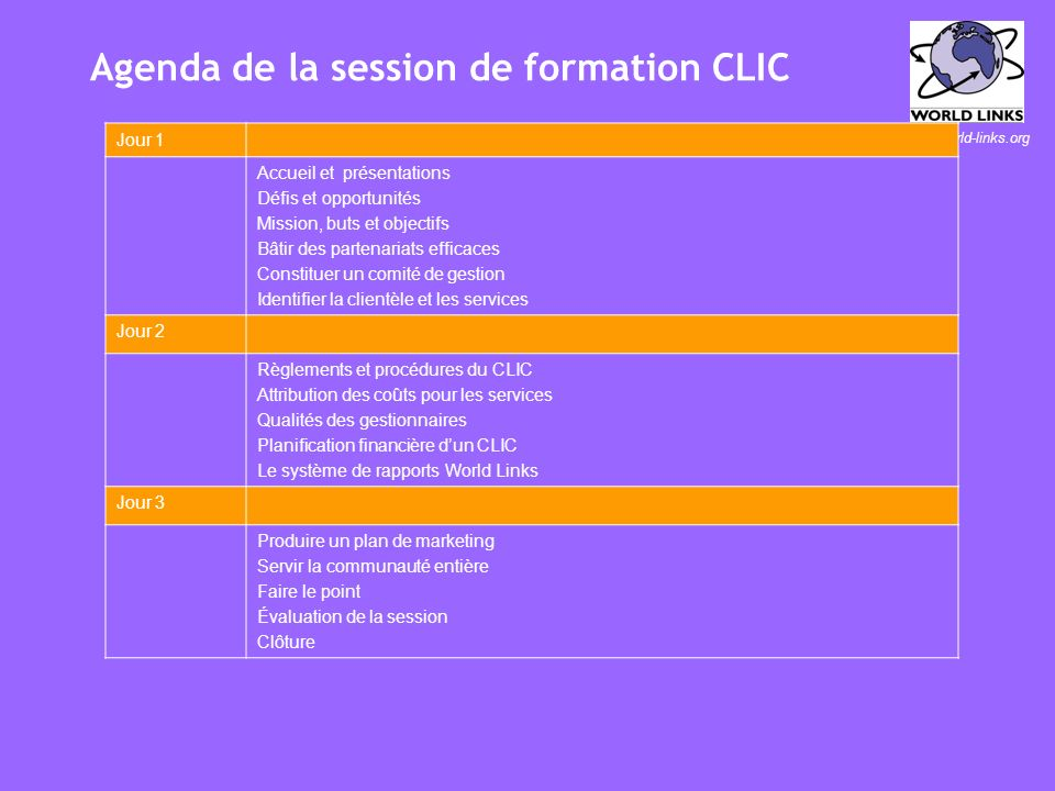 www.world-links.org Objectifs de la session de formation Expliquer avec conviction la raison dêtre dun CLIC aux membres de sa communauté Produire une
