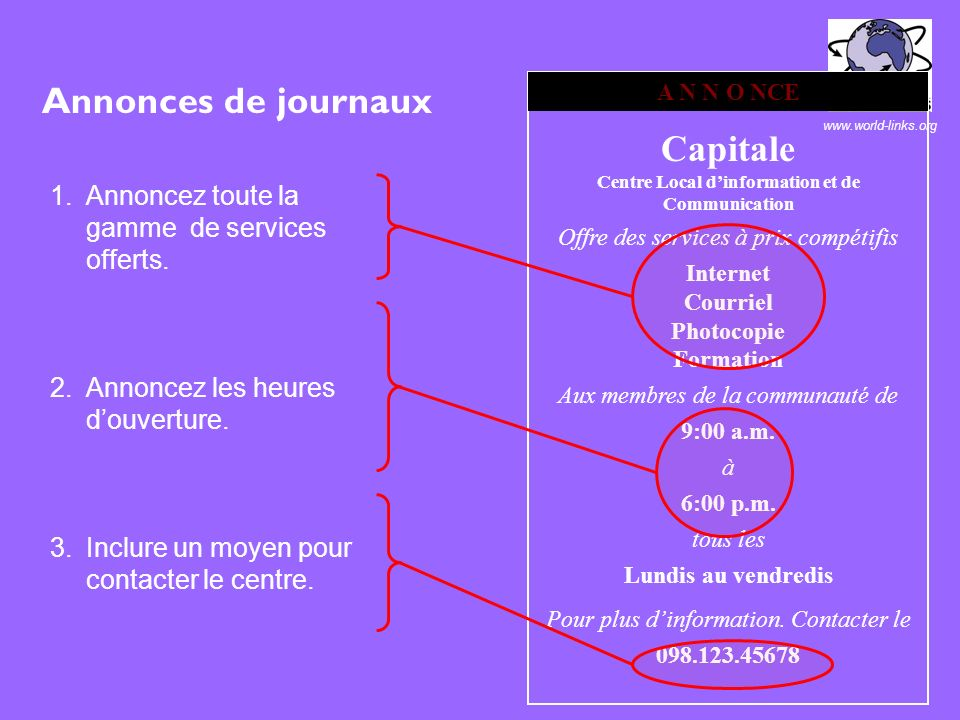www.world-links.org À 1.2 kilomètres du centre de la ville Tele: 098.123.4567 Connexion rapide Travail en privé Personnel accueillant Votre clientèle