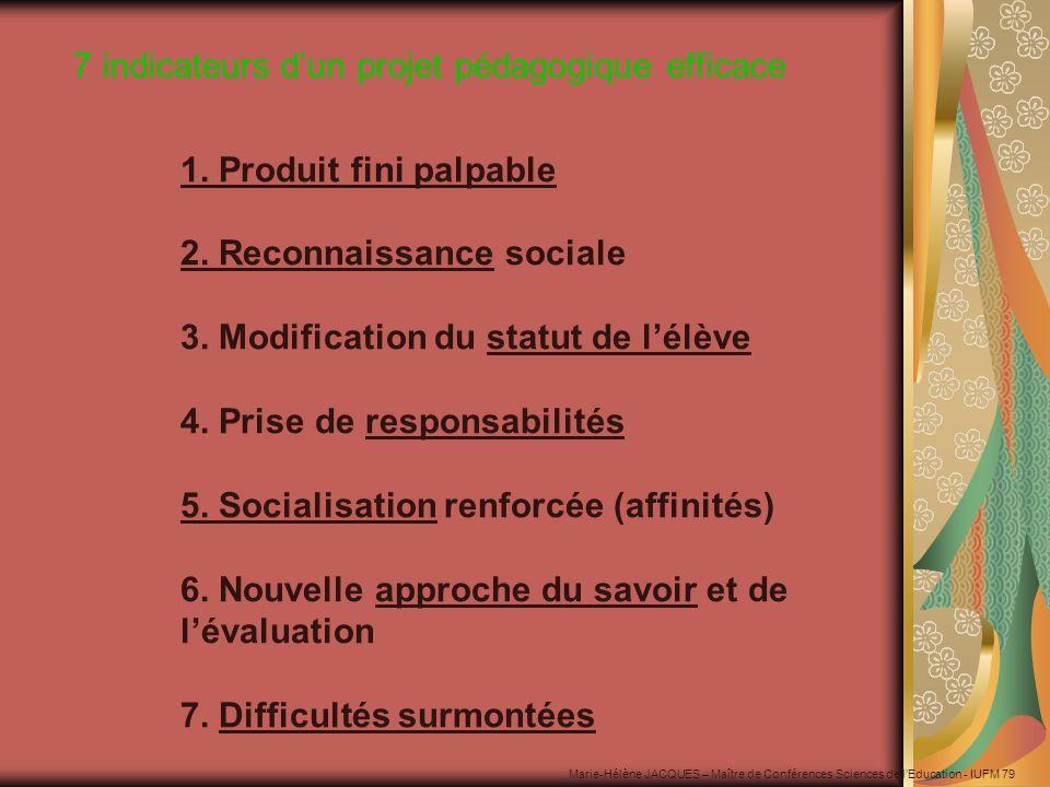 1. Produit fini palpable 2. Reconnaissance sociale 3. Modification du statut de lélève 4. Prise de responsabilités 5. Socialisation renforcée (affinit