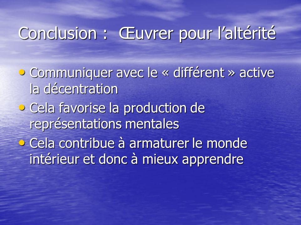 Conclusion : Œuvrer pour laltérité Communiquer avec le « différent » active la décentration Communiquer avec le « différent » active la décentration C