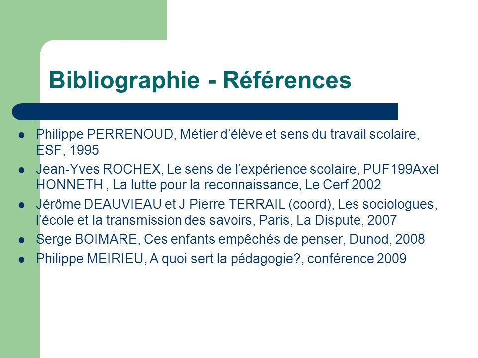 Bibliographie - Références Philippe PERRENOUD, Métier délève et sens du travail scolaire, ESF, 1995 Jean-Yves ROCHEX, Le sens de lexpérience scolaire,