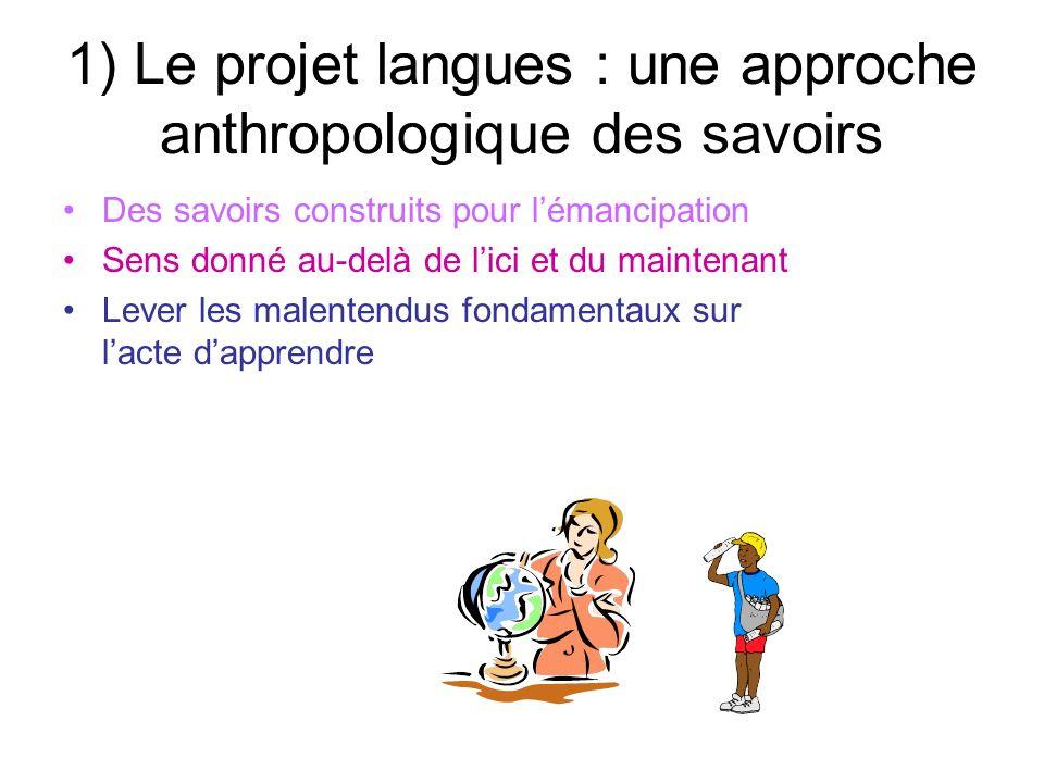 1) Le projet langues : une approche anthropologique des savoirs Des savoirs construits pour lémancipation Sens donné au-delà de lici et du maintenant Lever les malentendus fondamentaux sur lacte dapprendre