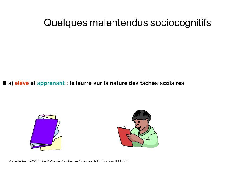 a) élève et apprenant : le leurre sur la nature des tâches scolaires Marie-Hélène JACQUES – Maître de Conférences Sciences de lEducation - IUFM 79 Que