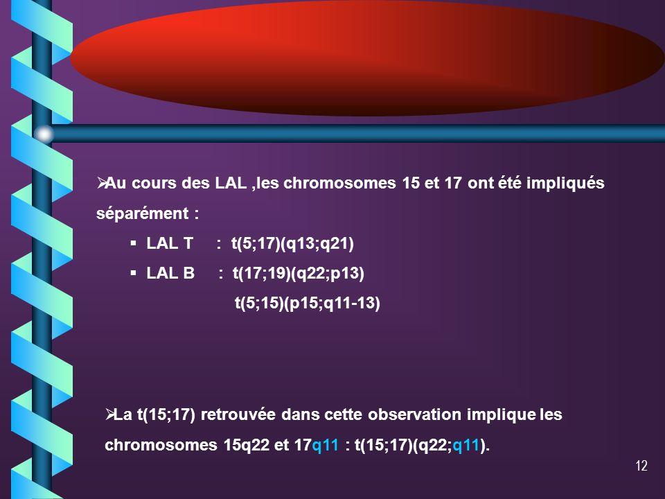 11auteurCytologie FAB FAB immuno phénoty page caryotype Biologie moléculaire Traitement et évolution Li et al Cancer Genet Cytogenet 2002Oct 15 LAM232