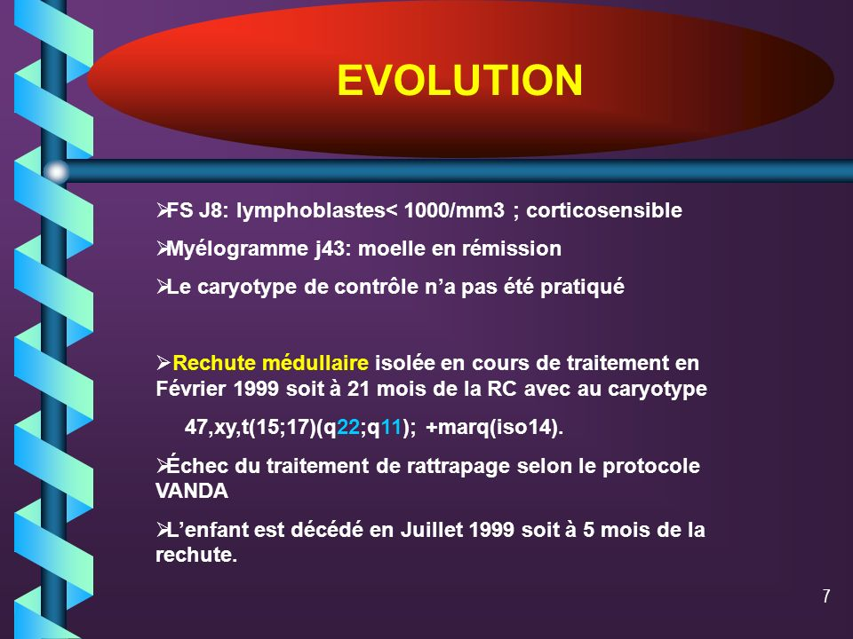7 EVOLUTION FS J8: lymphoblastes< 1000/mm3 ; corticosensible Myélogramme j43: moelle en rémission Le caryotype de contrôle na pas été pratiqué Rechute médullaire isolée en cours de traitement en Février 1999 soit à 21 mois de la RC avec au caryotype 47,xy,t(15;17)(q22;q11); +marq(iso14).