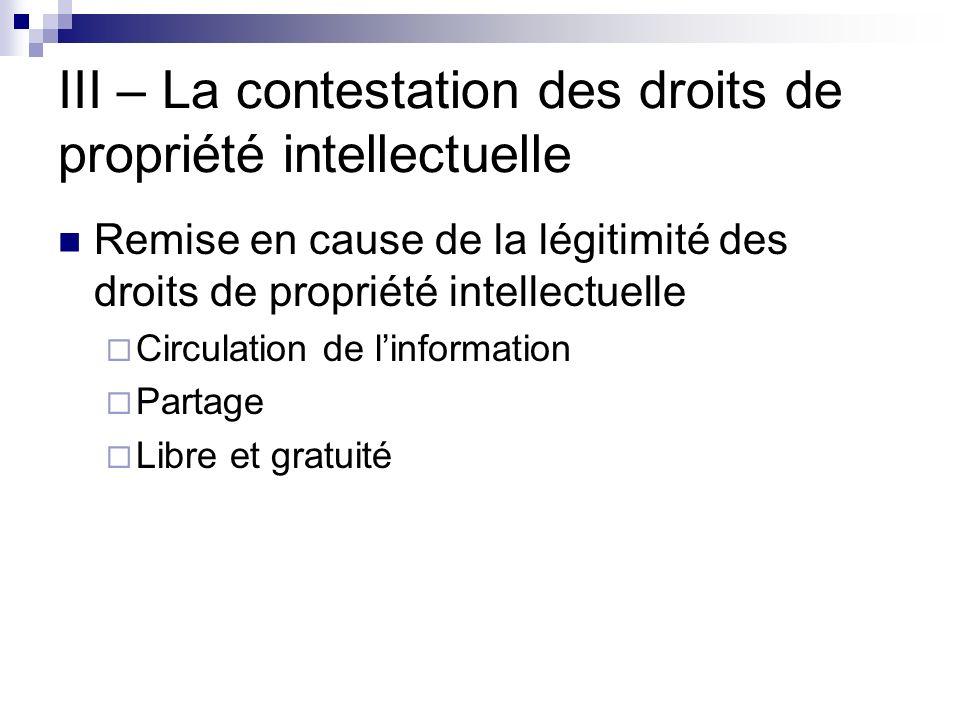 III – La contestation des droits de propriété intellectuelle Remise en cause de la légitimité des droits de propriété intellectuelle Circulation de li