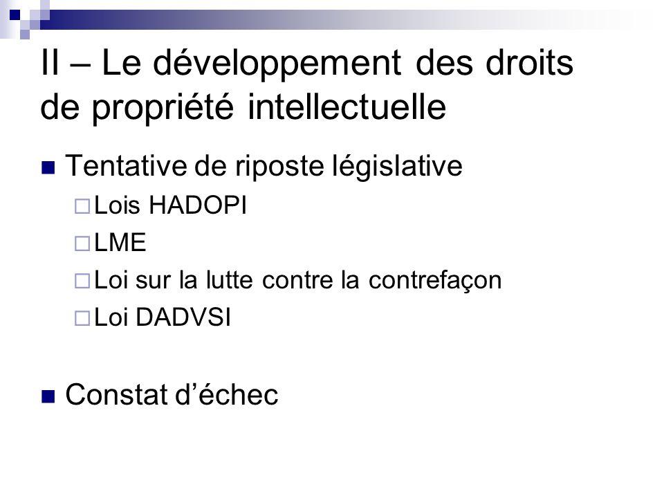 II – Le développement des droits de propriété intellectuelle Tentative de riposte législative Lois HADOPI LME Loi sur la lutte contre la contrefaçon L