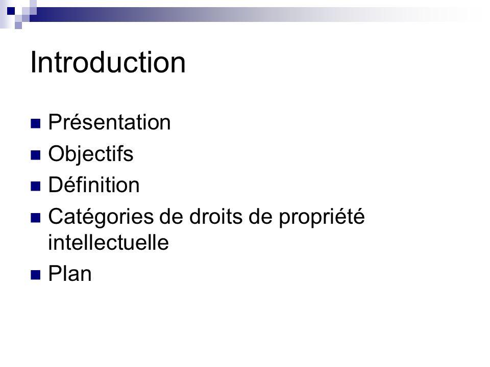 Introduction Présentation Objectifs Définition Catégories de droits de propriété intellectuelle Plan