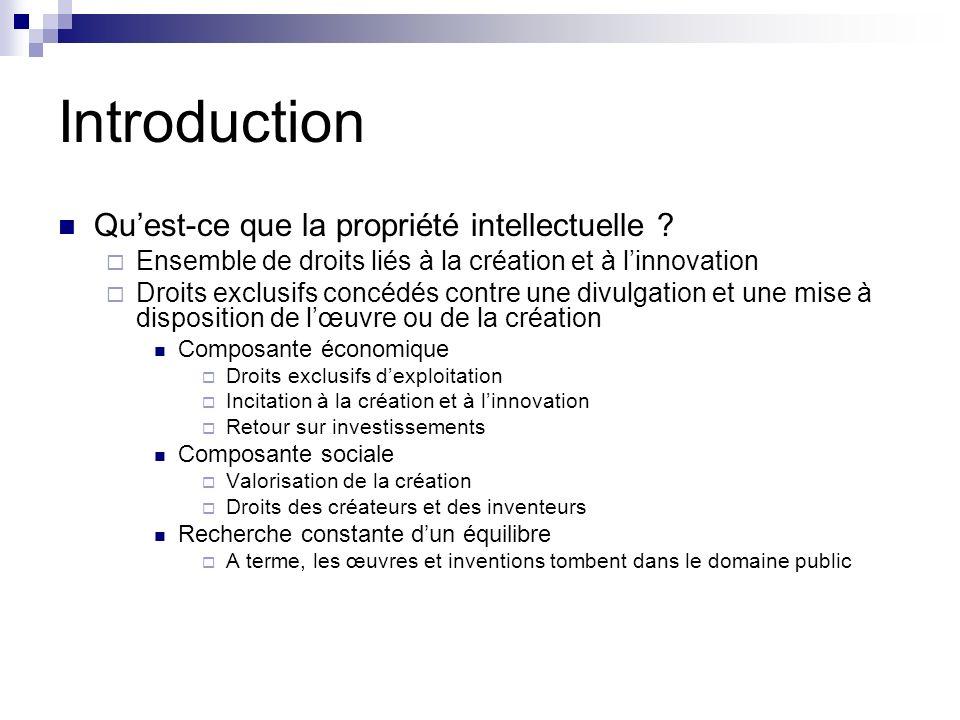 Introduction Quest-ce que la propriété intellectuelle ? Ensemble de droits liés à la création et à linnovation Droits exclusifs concédés contre une di